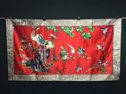 antique chinese embroidered silk wedding wall hanging