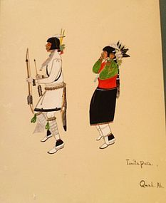 Quah Ah (Tonita Pe�a) Watercolor - Kachina Dance