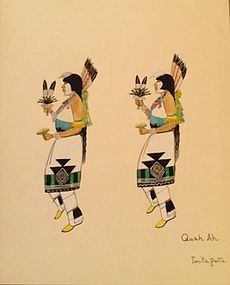 Quah Ah (Tonita Pe�a) Watercolor - Corn Dancers