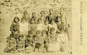 """""""Mexican Pupils, and Teacher."""" Real Photo Postcard"""