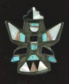 Zuni Silver Stone and Shell Brooch c. 1920