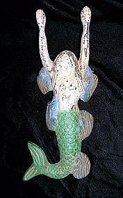 Rare Polychrome Iron Pictorial Mermaid Boot Jack