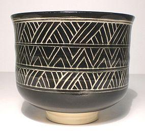 Black & White Katagami Influenced Teabowl (1114tb)