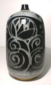Ao Glazed Tapered Mouth Vase With Bloesem Design