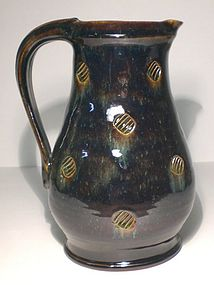 Temmoku & Haiyu Stamped Pitcher