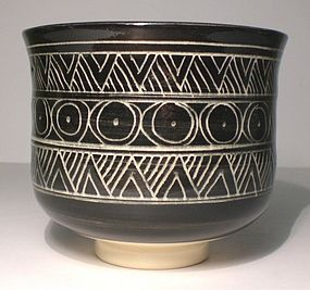 Black & White Katagami Incised teabowl (1127)