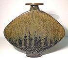 Temmoku & Tetsu-yu Textured Taiko Vase