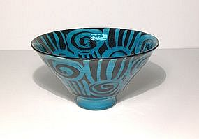 Persian Blue Rozome Design Teabowl