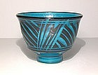Persian Blue Rozome Grass design Teabowl