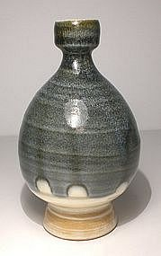 "Ao Glazed ""Imprint"" Tokkuri Sake Bottle"