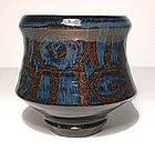 Ameyu & Gosu Blue Glazed Teabowl With Rozome Decoration