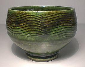Combed Oribe Nami-zu Teabowl