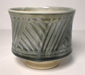 "Ao Glazed Etched ""Grasses"" Pattern Teabowl"