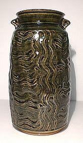 Lg. Ao Glazed Mokume Lugged Vase