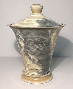 Lg. Pillar Form Hakeme Coered Jar W/ Ao Splashes
