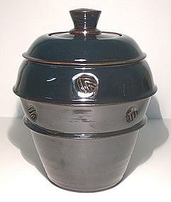 Temmoku Rings Stamped Covered jar