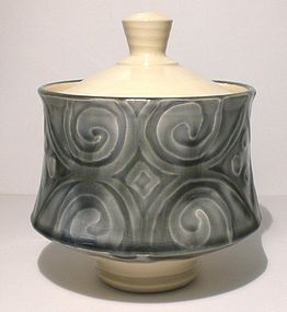 "Ao Glazed Etched ""Spirali"" Covered Serving Bowl"