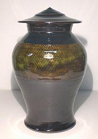 Temmoku & Medieval Green Kushime Banded Cap Jar