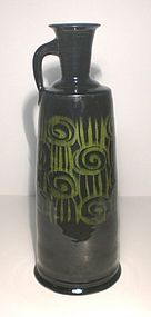 Tall Medieval Green Rozome Jug/Vase