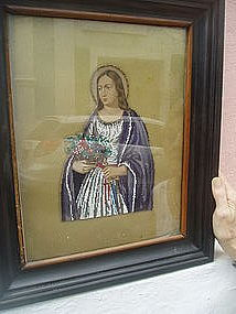 19thc Mixed Bead/Oil Painting St  Barbara