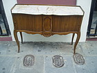 Walnut Buffet Tambor Doors Marble Top ca 1930s Sgnd