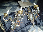 Pr Italian Gilt Iron Mirror Crystal  Sconces ca 1910