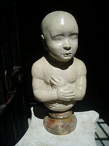 Carved Marble Infant Bust