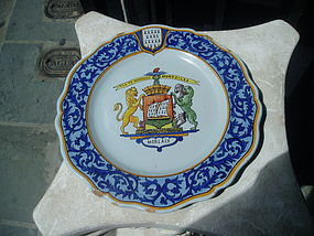 Antique French Faience Armorial Plate Marked