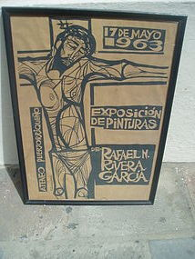 Puerto Rican Lithograph Poster 1963 Signed