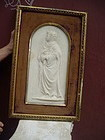 Antique 19thc Marble Bas Relief of Dante Italian