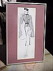 American Fashion Ink Drawing-Lady w/Cape-30s