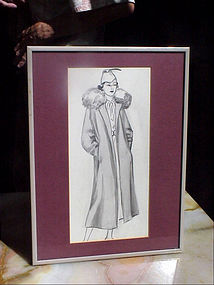 American Fashion Ink Drawing-Lady in Fur--30s