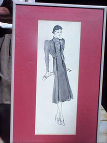 American Fashion Ink Drawing-La Chine-30s