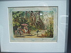 19thc Cuban Colored Lithograph ca 1860s-Jungle Romp