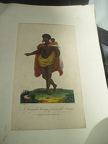 18thc English Engraving S. American Female Savage