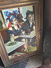 20thc Cuban Oil on Canvas Cabaret Scene Signd Dtd