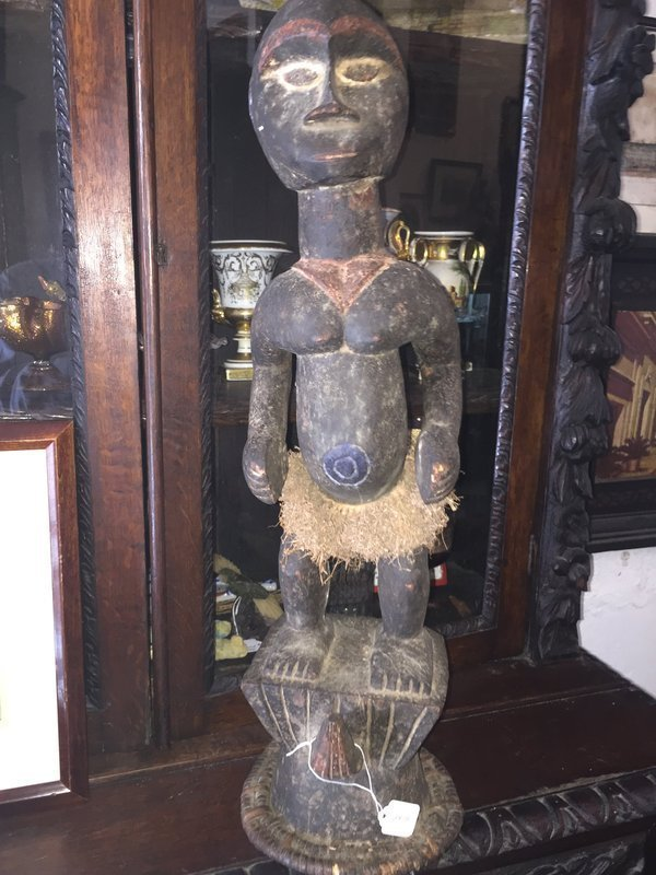 Antique East African Carved Wood Male Sculpture
