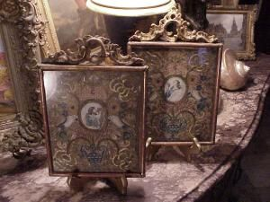 (pair) 18thc Italian paintings on vellum