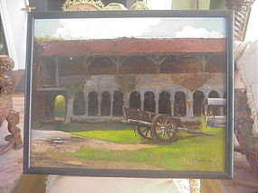 Balkan Court Yard Oil/Carton Signed 19th century