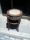 Chinese 19thc Hardwood Taboret Table Marble Insert