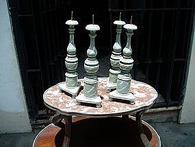 4 Spanish Colonial Polychrome Candlesticks ca 1840