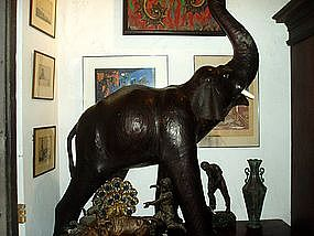 Lge Leather Elephant Sculpture -ca 1930s
