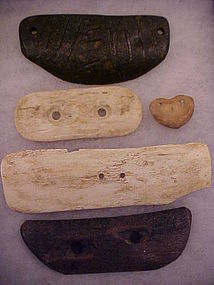 Extremely Rare 5 Bone Gorgets: One Fossilized w/video