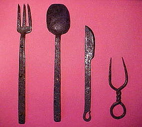 Revolutionary Period Hand-Forged Eating Utensils
