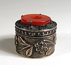 Small Silver & Carnelian Chinese Export Pill Box