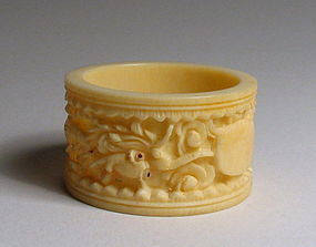 Chinese Carved Ivory Napkin Ring, Early 20th C.