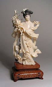 Fine Chinese Ivory Carving of Maiden with Flowers