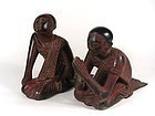 Pair of 19th C. Lacquered Burmese Monks in Adoration Posture