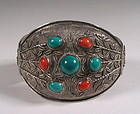 Chinese Silver Filigree Bracelet with Turquoise & Coral Stones