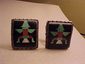 ZUNI JOHN GORDON LEAK INLAID KNIFEWING CUFF LINKS